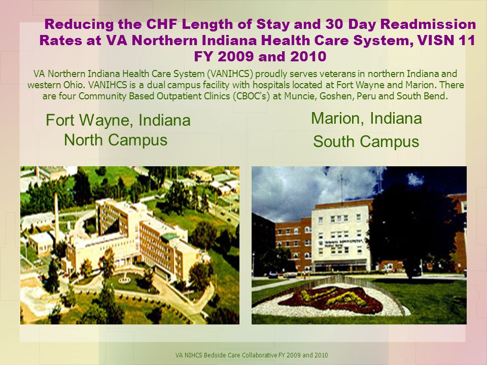 Reducing the CHF Length of Stay and 30 Day Readmission Rates at VA Northern Indiana Health Care System, VISN 11 FY 2009 and 2010 Fort Wayne, Indiana North Campus Marion, Indiana South Campus VA Northern Indiana Health Care System (VANIHCS) proudly serves veterans in northern Indiana and western Ohio.