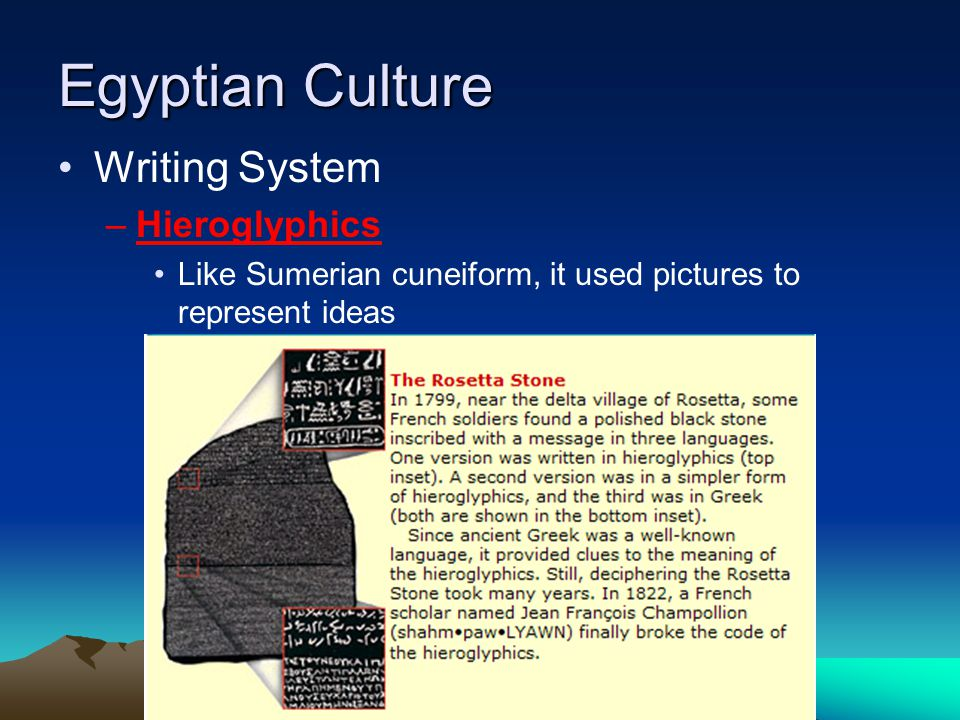 Egyptian Culture Writing System –Hieroglyphics Like Sumerian cuneiform, it used pictures to represent ideas