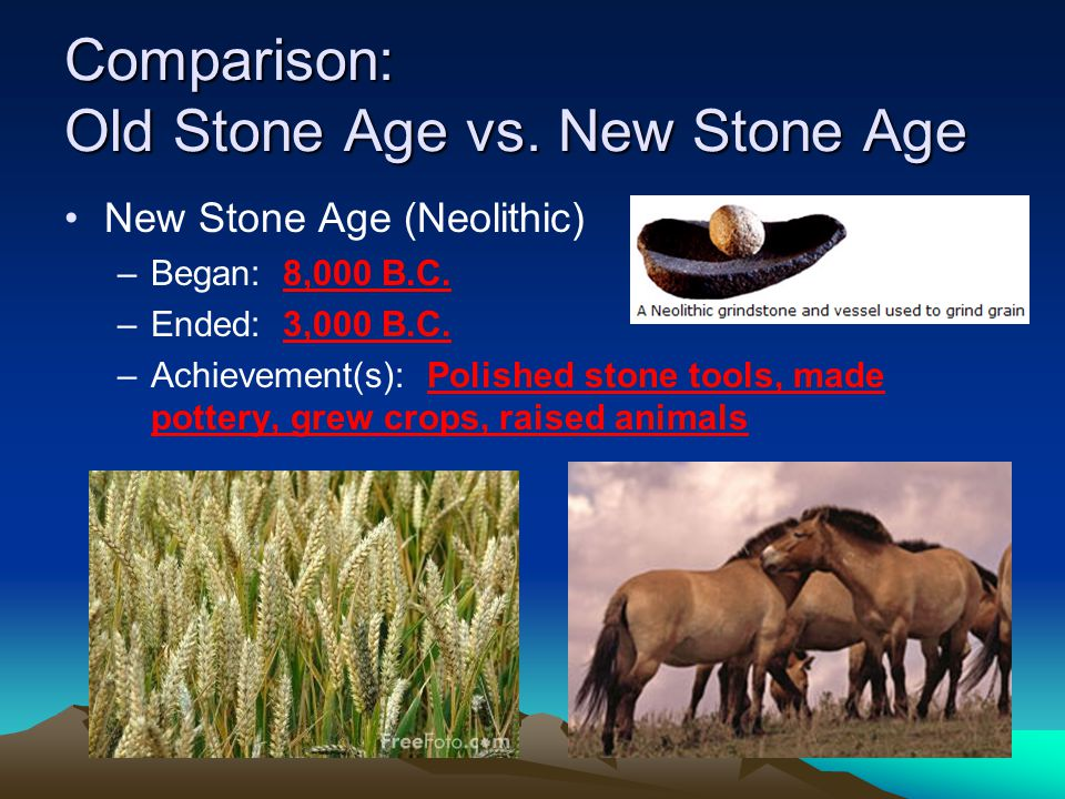 Comparison: Old Stone Age vs.New Stone Age New Stone Age (Neolithic) –Began: 8,000 B.C.