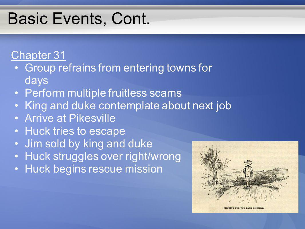 Basic Events, Cont. Chapter 31 Group refrains from entering towns for days Perform multiple fruitless scams King and duke contemplate about next job A