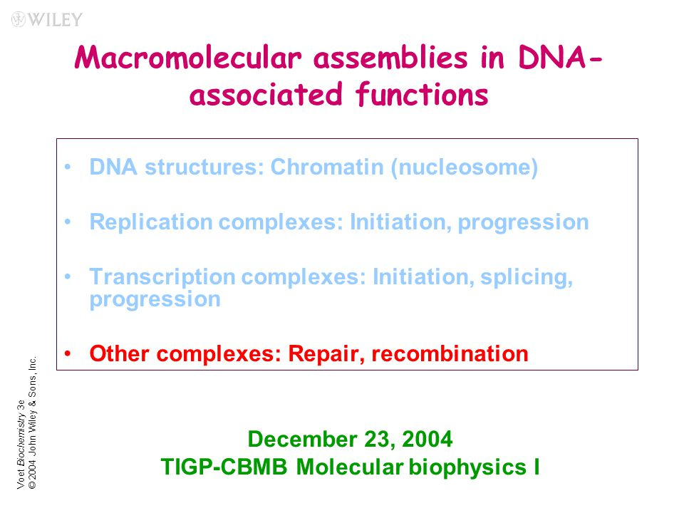 Voet Biochemistry 3e © 2004 John Wiley & Sons, Inc. Macromolecular assemblies in DNA- associated functions DNA structures: Chromatin (nucleosome) Repl