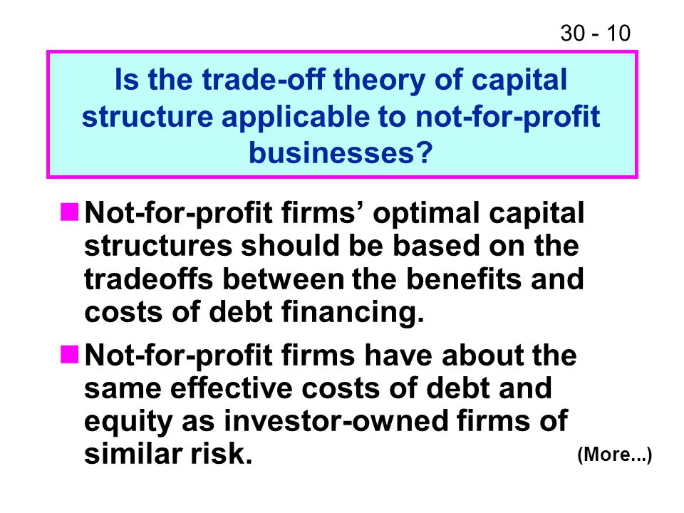 30 - 10 Not-for-profit firms' optimal capital structures should be based on the tradeoffs between the benefits and costs of debt financing. Not-for-pr