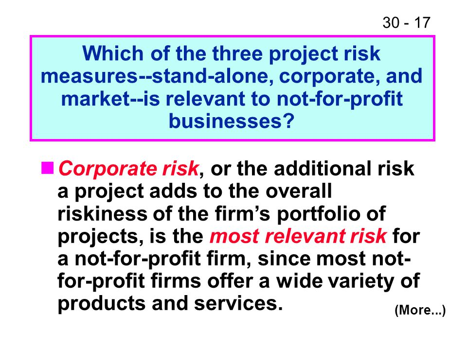 30 - 17 Which of the three project risk measures--stand-alone, corporate, and market--is relevant to not-for-profit businesses? (More...) Corporate ri