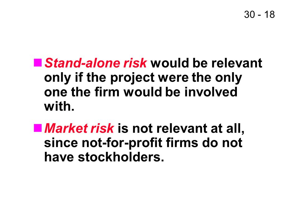 30 - 18 Stand-alone risk would be relevant only if the project were the only one the firm would be involved with. Market risk is not relevant at all,