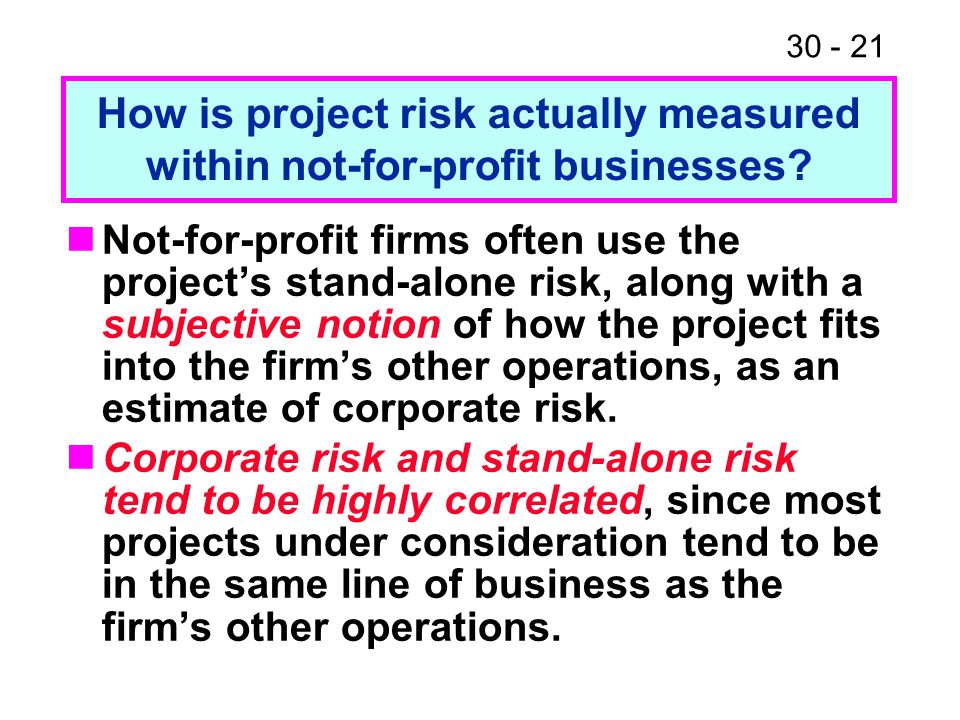 30 - 21 Not-for-profit firms often use the project's stand-alone risk, along with a subjective notion of how the project fits into the firm's other op