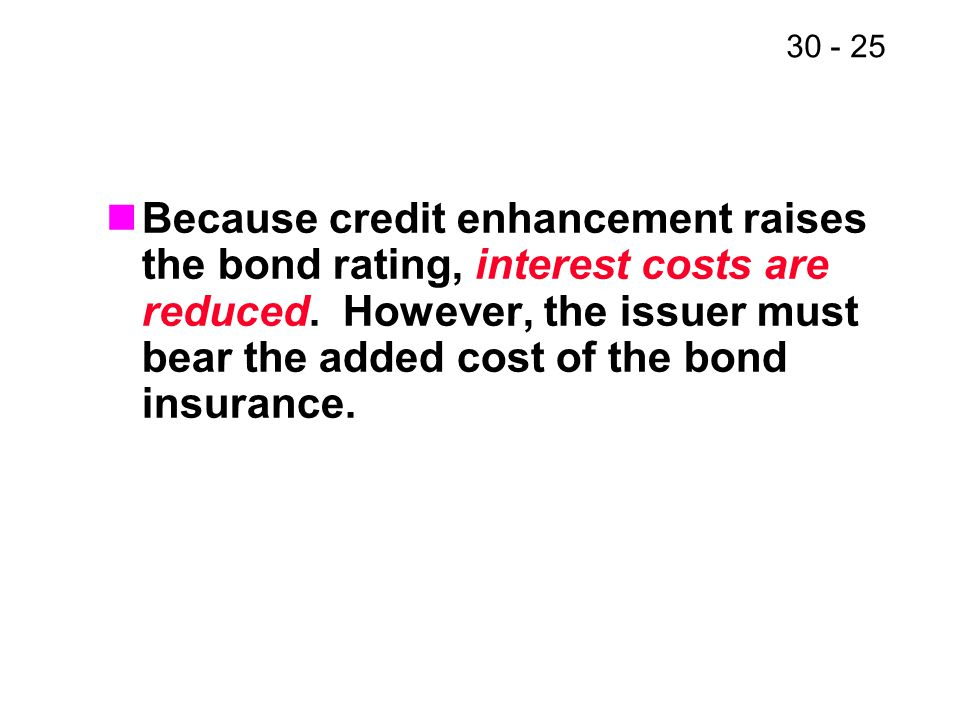 30 - 25 Because credit enhancement raises the bond rating, interest costs are reduced. However, the issuer must bear the added cost of the bond insura