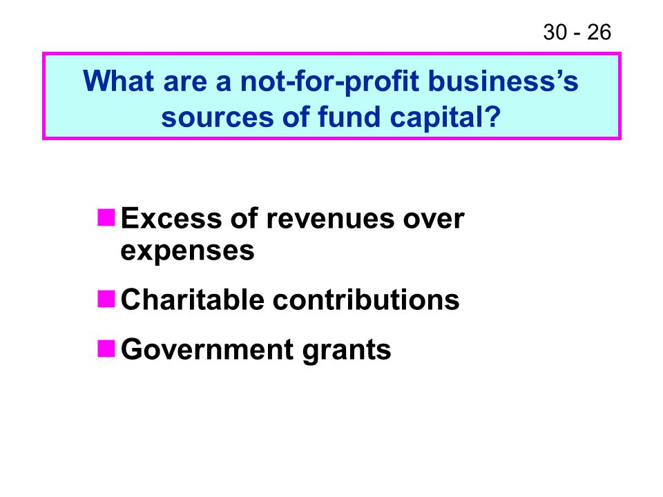30 - 26 Excess of revenues over expenses Charitable contributions Government grants What are a not-for-profit business's sources of fund capital?