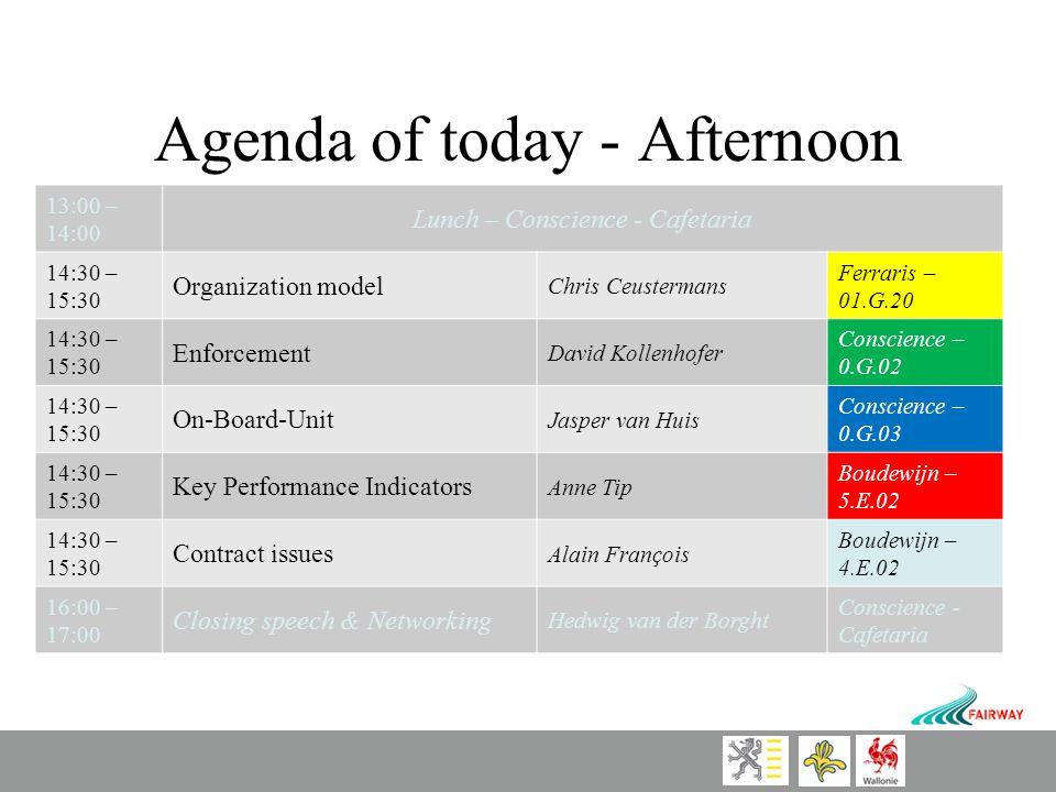 Agenda of today - Afternoon 13:00 – 14:00 Lunch – Conscience - Cafetaria 14:30 – 15:30 Organization model Chris Ceustermans Ferraris – 01.G.20 14:30 – 15:30 Enforcement David Kollenhofer Conscience – 0.G.02 14:30 – 15:30 On-Board-Unit Jasper van Huis Conscience – 0.G.03 14:30 – 15:30 Key Performance Indicators Anne Tip Boudewijn – 5.E.02 14:30 – 15:30 Contract issues Alain François Boudewijn – 4.E.02 16:00 – 17:00 Closing speech & Networking Hedwig van der Borght Conscience - Cafetaria