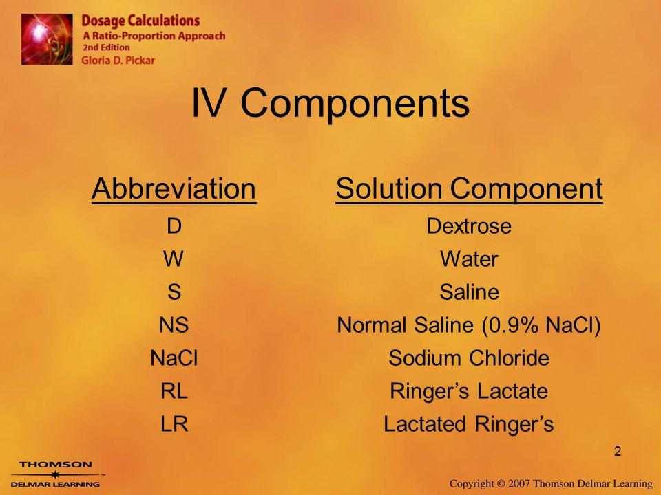 2 IV Components AbbreviationSolution Component DDextrose WWater SSaline NSNormal Saline (0.9% NaCl) NaClSodium Chloride RLRinger's Lactate LRLactated