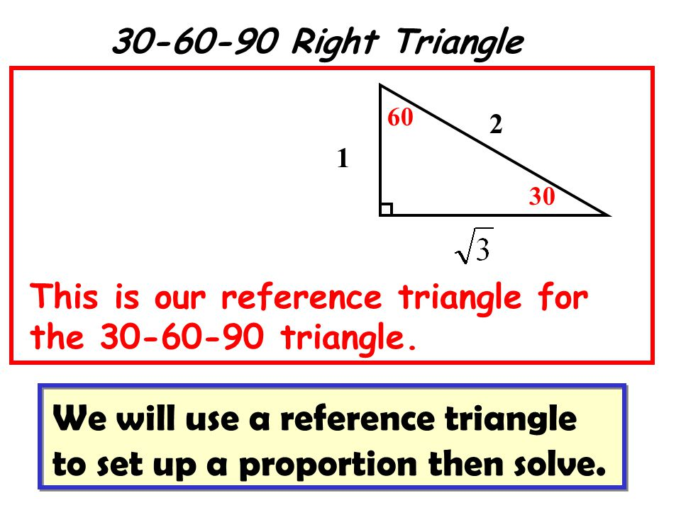 30-60-90 Right Triangle 1 2 30 60 This is our reference triangle for the 30-60-90 triangle.