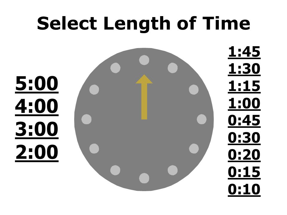 DLMSO Classroom Timer Select a time to count down from the clock above 60 min 45 min 30 min 20 min 15 min 10 min 5 min or less