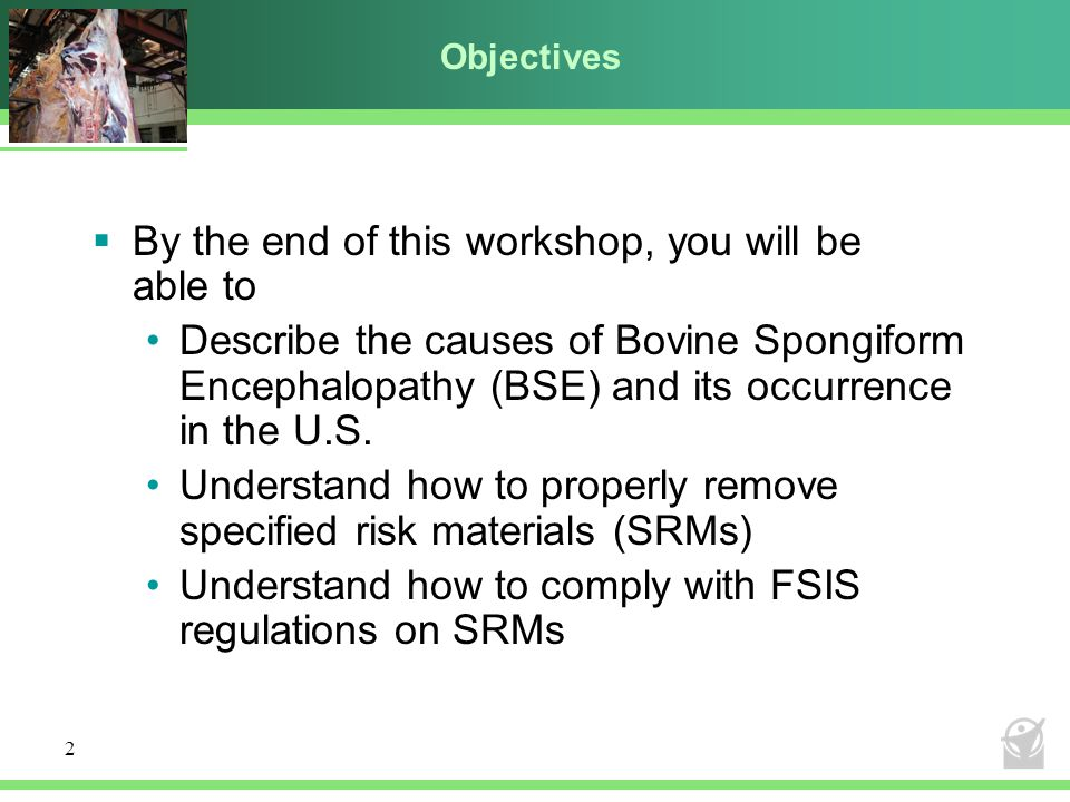 2 Objectives  By the end of this workshop, you will be able to Describe the causes of Bovine Spongiform Encephalopathy (BSE) and its occurrence in the U.S.