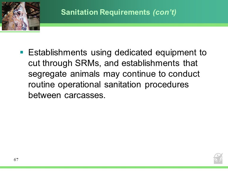 Sanitation Requirements (con't)  Establishments using dedicated equipment to cut through SRMs, and establishments that segregate animals may continue to conduct routine operational sanitation procedures between carcasses.
