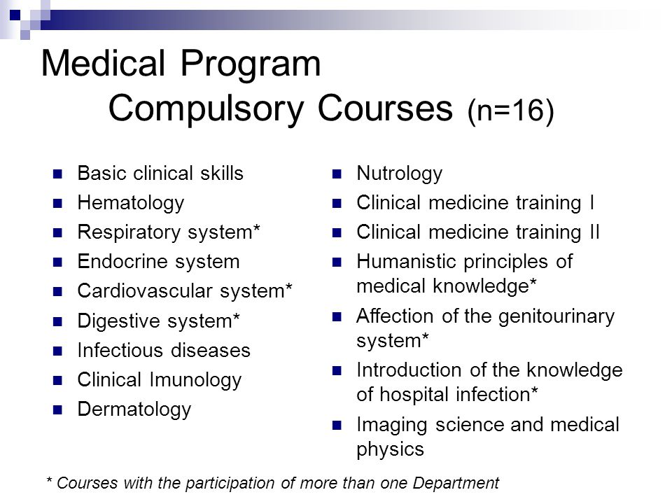 Medical Program Compulsory Courses (n=16) Basic clinical skills Hematology Respiratory system* Endocrine system Cardiovascular system* Digestive syste