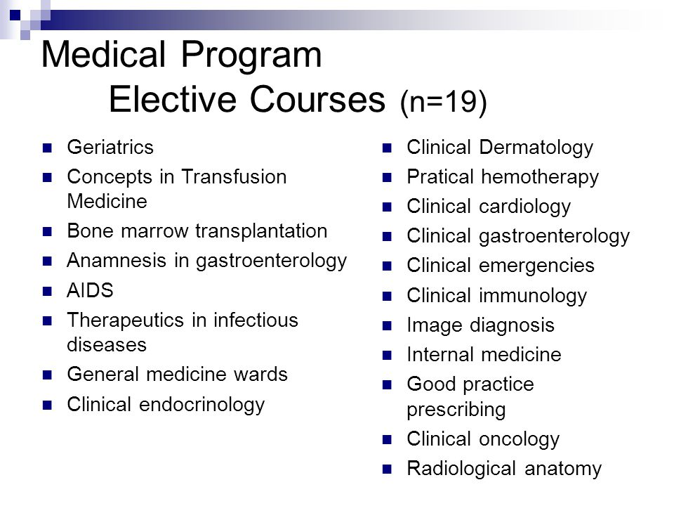 Medical Program Elective Courses (n=19) Geriatrics Concepts in Transfusion Medicine Bone marrow transplantation Anamnesis in gastroenterology AIDS Therapeutics in infectious diseases General medicine wards Clinical endocrinology Clinical Dermatology Pratical hemotherapy Clinical cardiology Clinical gastroenterology Clinical emergencies Clinical immunology Image diagnosis Internal medicine Good practice prescribing Clinical oncology Radiological anatomy