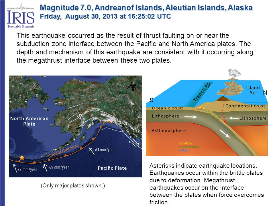 This earthquake occurred as the result of thrust faulting on or near the subduction zone interface between the Pacific and North America plates. The d