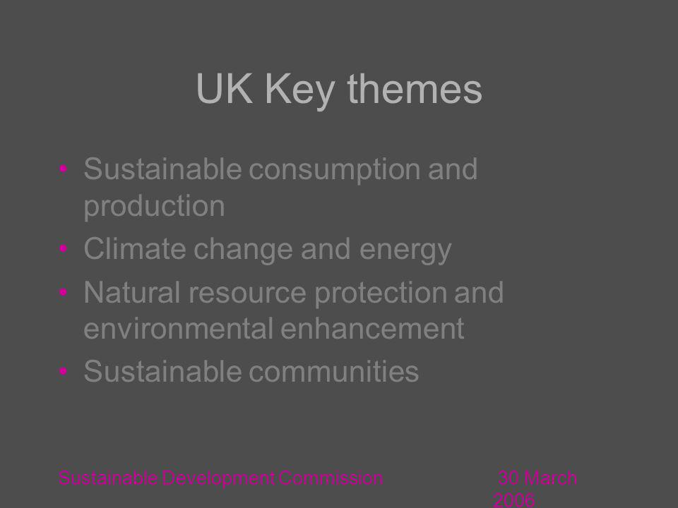 30 March 2006 Sustainable Development Commission UK Key themes Sustainable consumption and production Climate change and energy Natural resource protection and environmental enhancement Sustainable communities