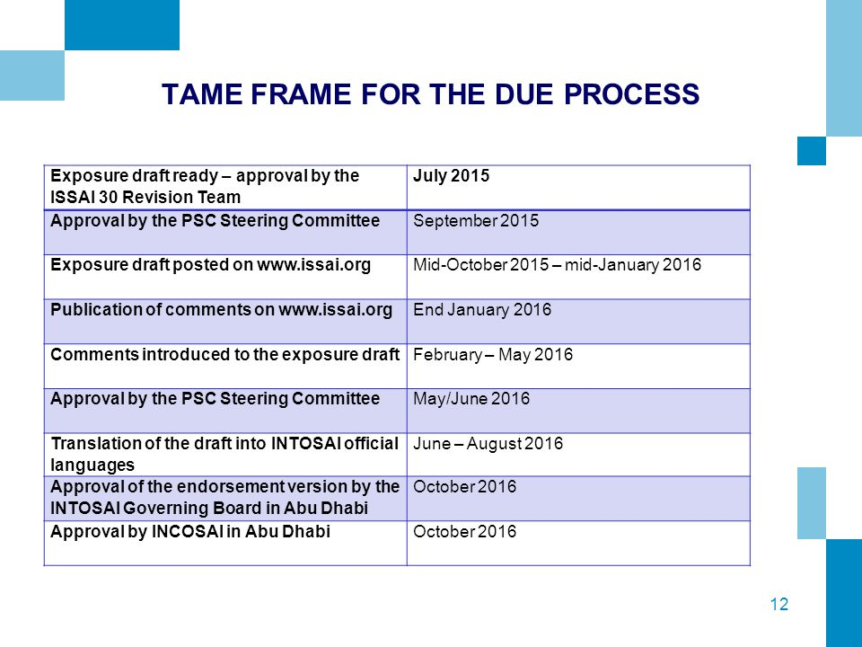 12 TAME FRAME FOR THE DUE PROCESS Exposure draft ready – approval by the ISSAI 30 Revision Team July 2015 Approval by the PSC Steering Committee Septe
