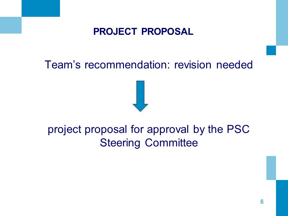 6 PROJECT PROPOSAL Team's recommendation: revision needed project proposal for approval by the PSC Steering Committee