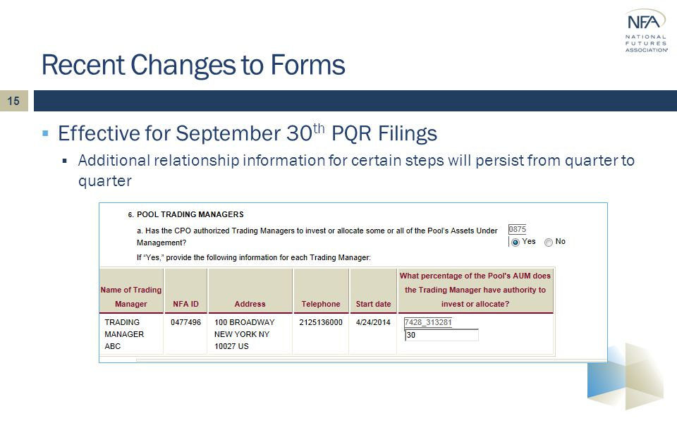 15  Effective for September 30 th PQR Filings  Additional relationship information for certain steps will persist from quarter to quarter Recent Changes to Forms