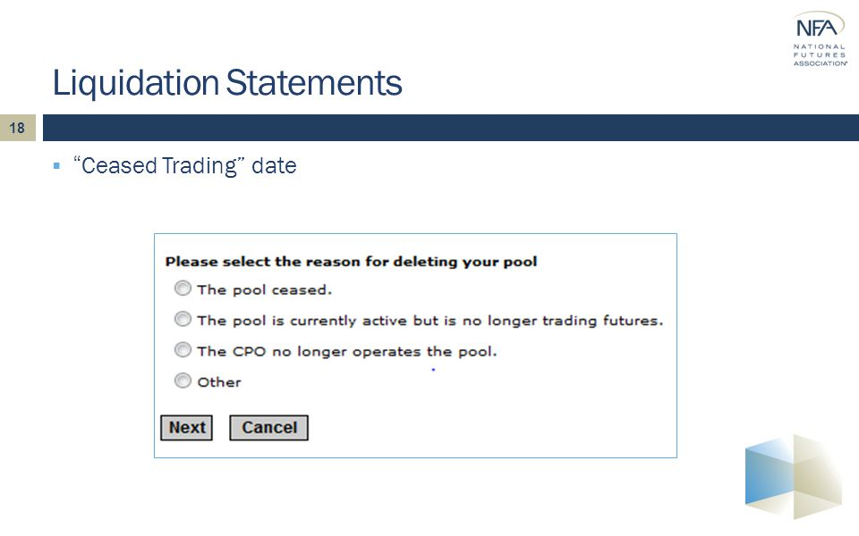18  Ceased Trading date Liquidation Statements