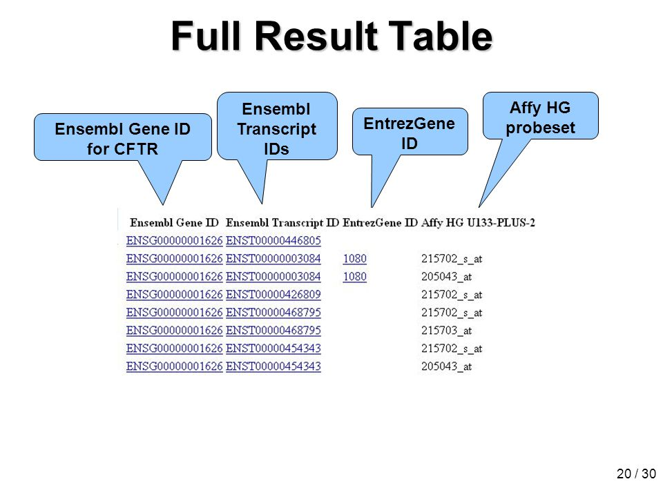20 / 30 Full Result Table Ensembl Gene ID for CFTR Ensembl Transcript IDs EntrezGene ID Affy HG probeset