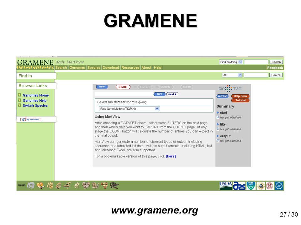 27 / 30 GRAMENE www.gramene.org