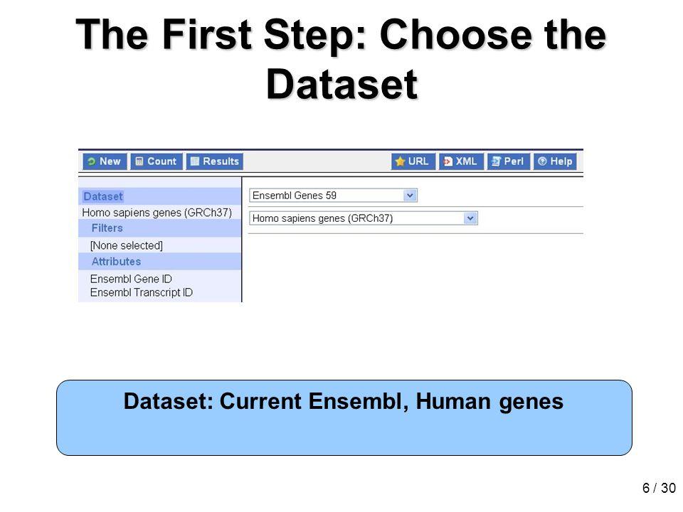 6 / 30 The First Step: Choose the Dataset Dataset: Current Ensembl, Human genes