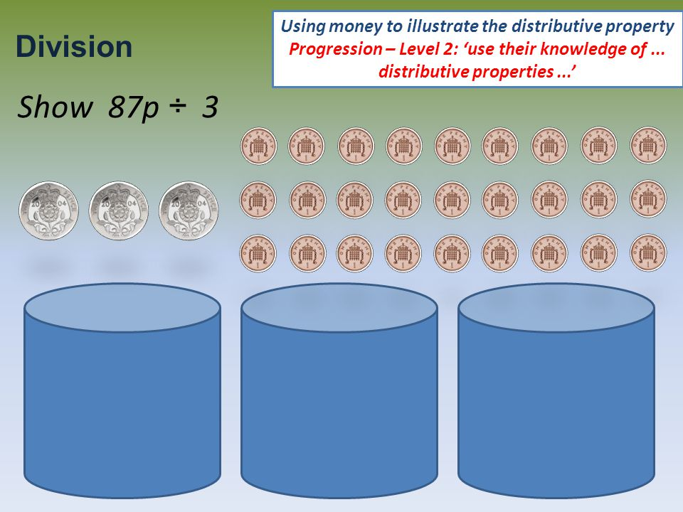 Show 87p ÷ 3 Using money to illustrate the distributive property Progression – Level 2: 'use their knowledge of...