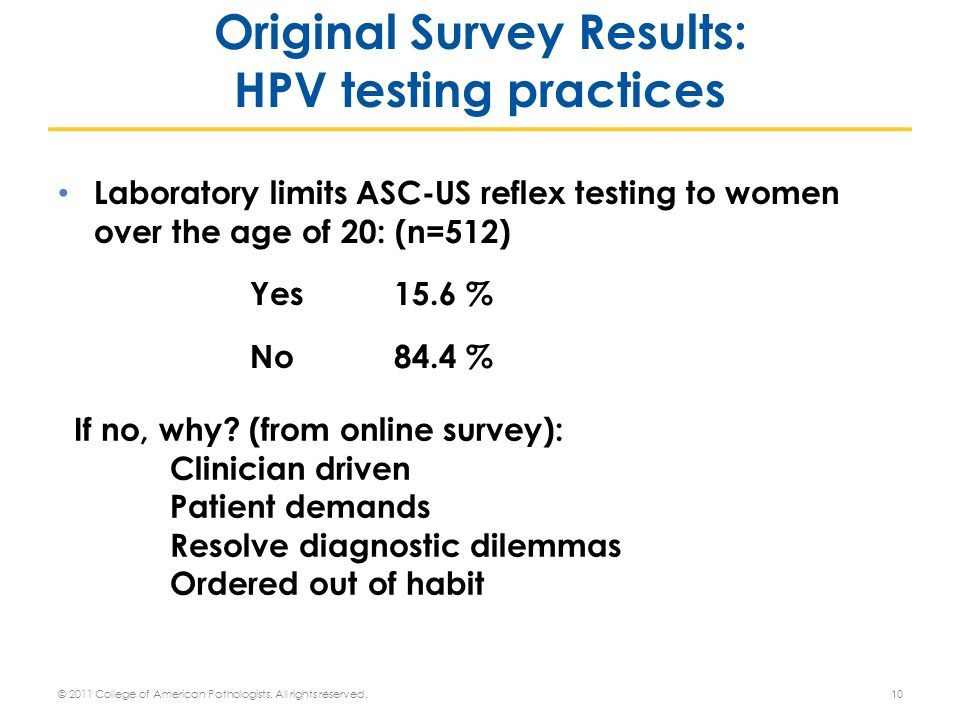 Laboratory limits ASC-US reflex testing to women over the age of 20: (n=512) Yes 15.6 % No 84.4 % If no, why.