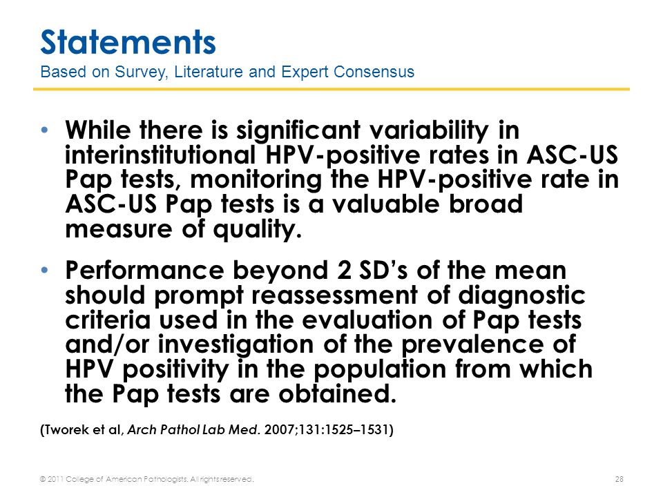 Statements Based on Survey, Literature and Expert Consensus While there is significant variability in interinstitutional HPV-positive rates in ASC-US Pap tests, monitoring the HPV-positive rate in ASC-US Pap tests is a valuable broad measure of quality.