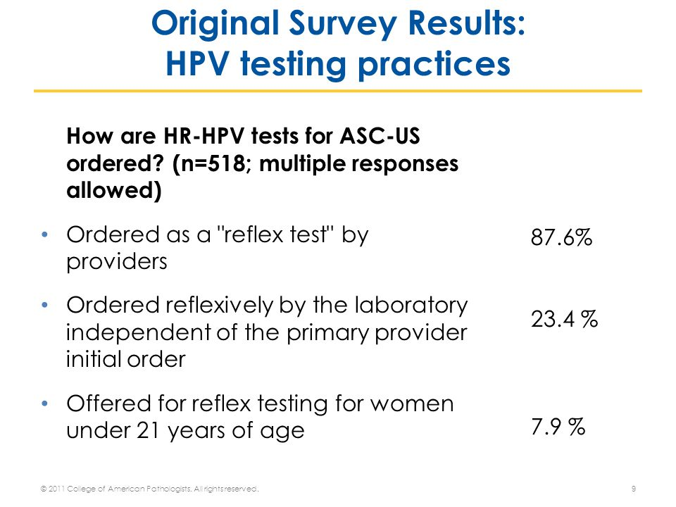How are HR-HPV tests for ASC-US ordered.