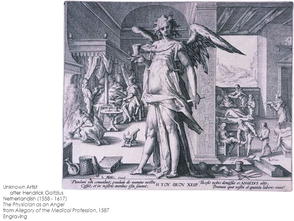 Unknown Artist after Hendrick Goltzius Netherlandish (1558 - 1617) The Physician as an Angel from Allegory of the Medical Profession, 1587 Engraving
