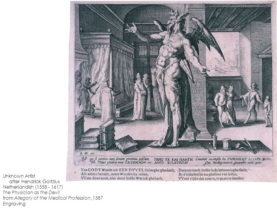 Unknown Artist after Hendrick Goltzius Netherlandish (1558 - 1617) The Physician as the Devil from Allegory of the Medical Profession, 1587 Engraving