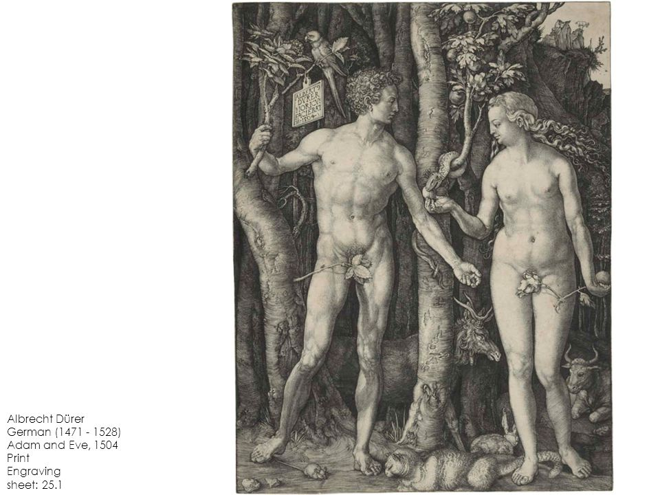 Albrecht Dürer German (1471 - 1528) Adam and Eve, 1504 Print Engraving sheet: 25.1