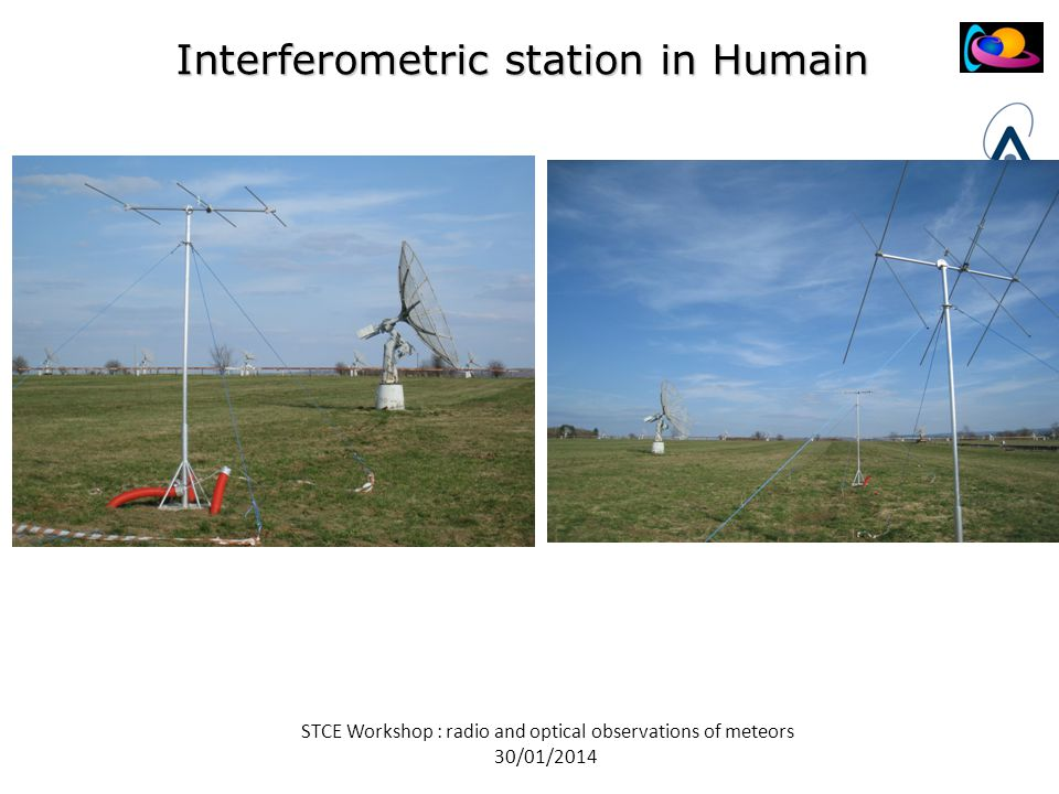 STCE Workshop : radio and optical observations of meteors 30/01/2014 Interferometric station in Humain