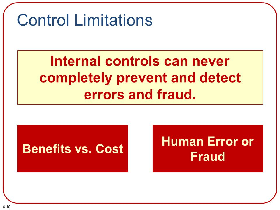 Control Limitations Internal controls can never completely prevent and detect errors and fraud. Benefits vs. Cost Human Error or Fraud 6-10