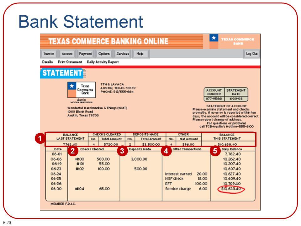Bank Statement 1 2345 6-20