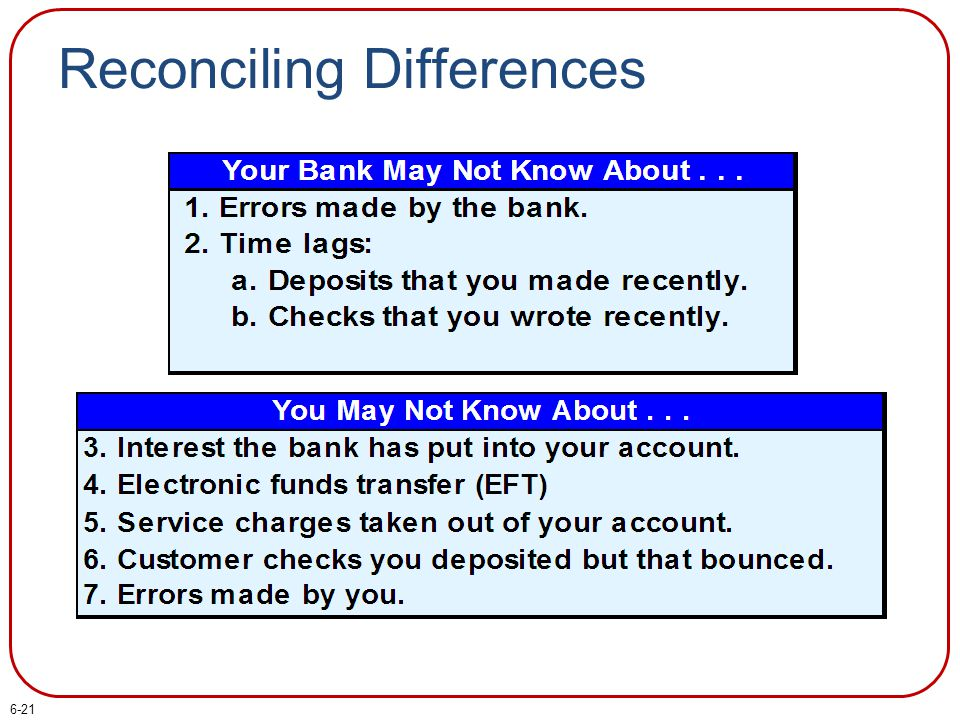 Reconciling Differences 6-21
