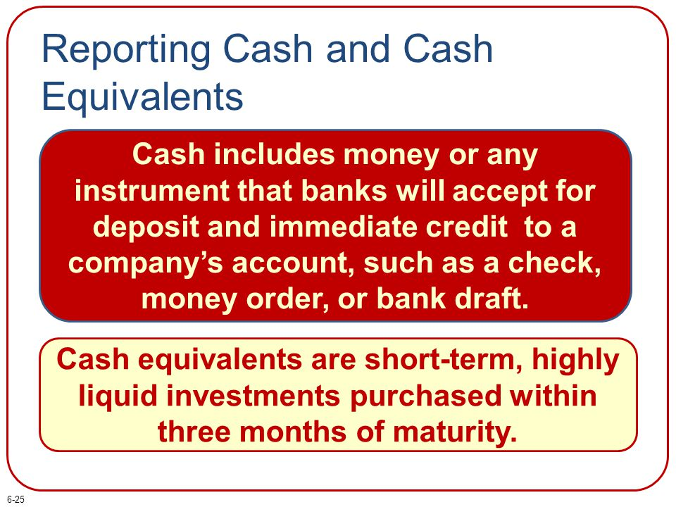 Reporting Cash and Cash Equivalents Cash includes money or any instrument that banks will accept for deposit and immediate credit to a company's accou