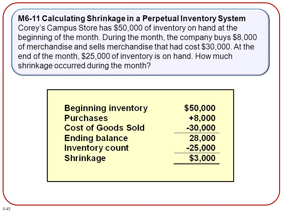 M6-11 Calculating Shrinkage in a Perpetual Inventory System Corey's Campus Store has $50,000 of inventory on hand at the beginning of the month.