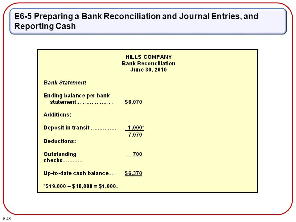 E6-5 Preparing a Bank Reconciliation and Journal Entries, and Reporting Cash 6-48