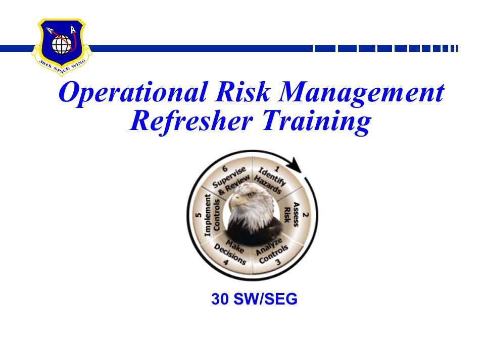 Operational Risk Management Refresher Training 30 SW/SEG