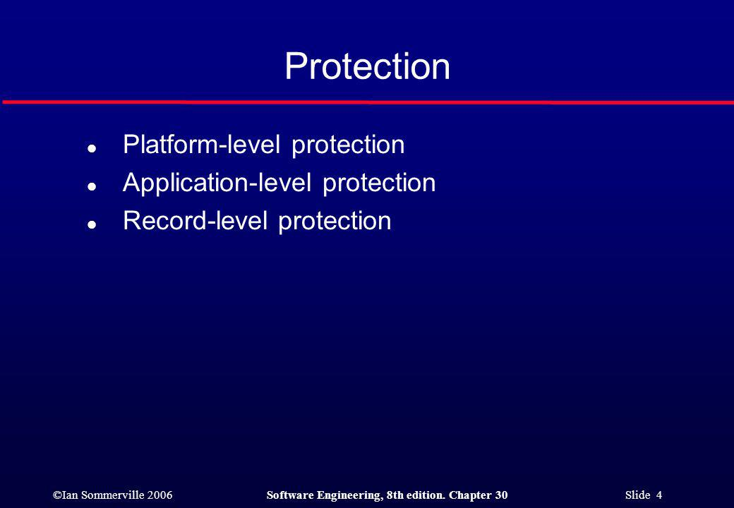 ©Ian Sommerville 2006Software Engineering, 8th edition. Chapter 30 Slide 5 Layered protection