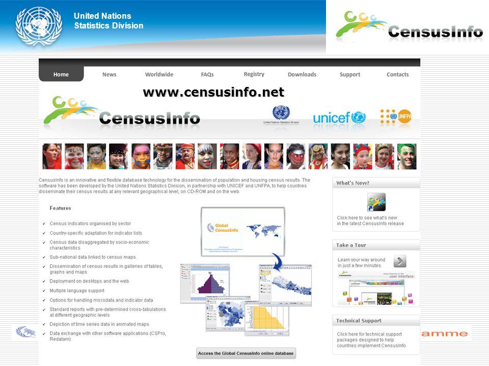 United Nations Statistics Division United Nations Regional Workshop on CensusInfo New Delhi, India, 28–30 November 2011 www.censusinfo.net