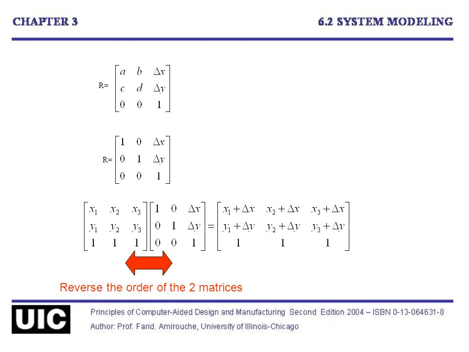 R= Reverse the order of the 2 matrices