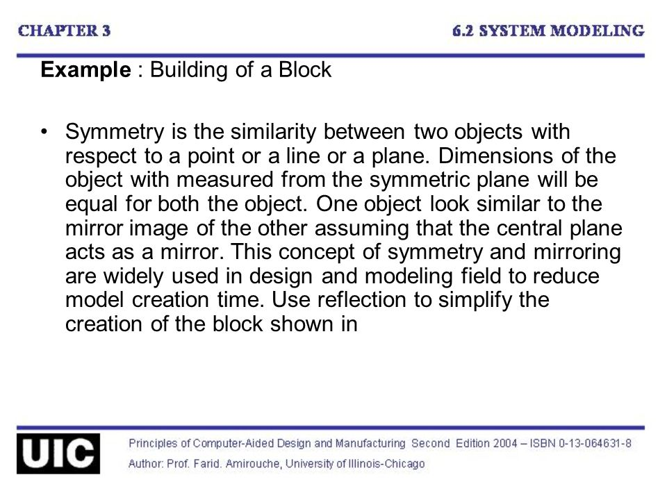 Example : Building of a Block Symmetry is the similarity between two objects with respect to a point or a line or a plane.
