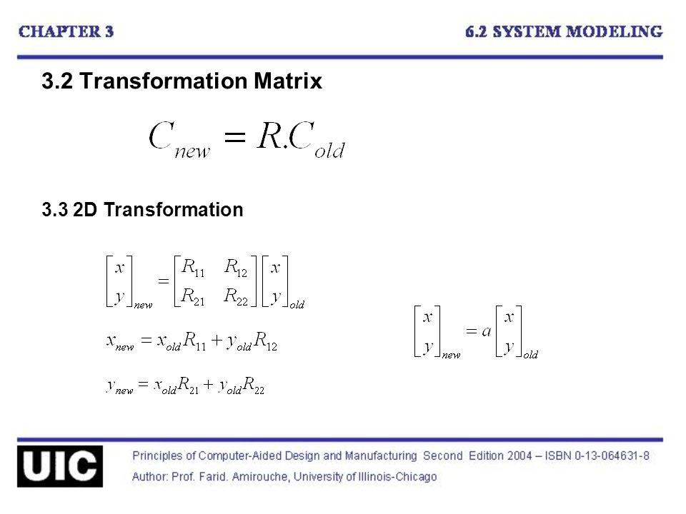 3.2 Transformation Matrix 3.3 2D Transformation