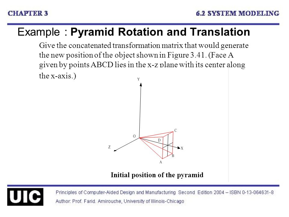 Example : Pyramid Rotation and Translation Give the concatenated transformation matrix that would generate the new position of the object shown in Figure 3.41.