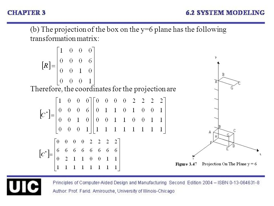 (b) The projection of the box on the y=6 plane has the following transformation matrix: Therefore, the coordinates for the projection are